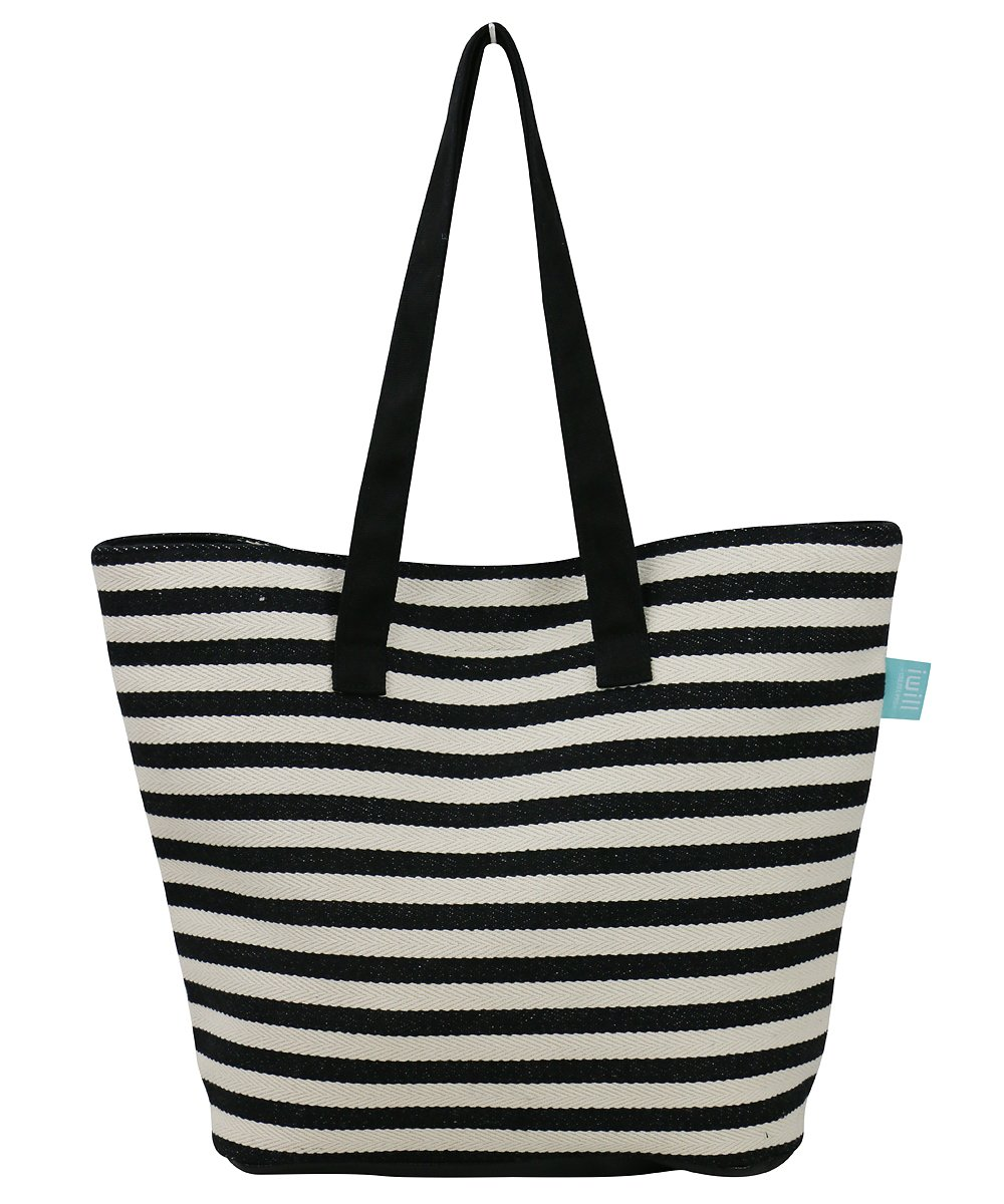 NEW VERSION LAUNCHED! Large Beach Thicker Canvas Travel Tote Bag - Perfect Shoulder Bag For Holidays, Vacations, Classic Stripes Style