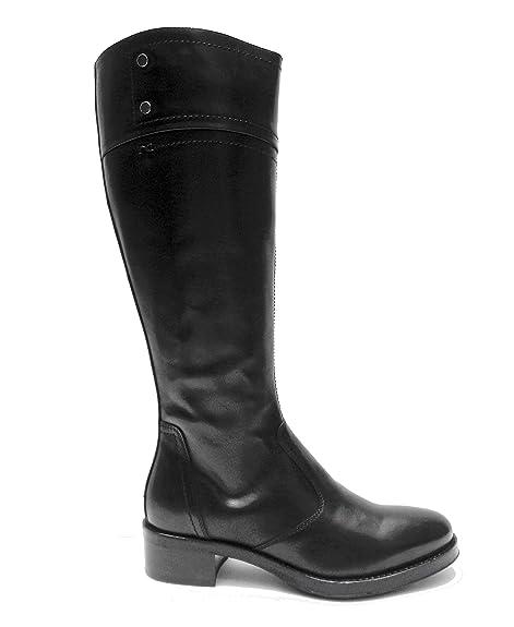 Nero Giardini 19820 stivali da donna in pelle Nero cerniera laterale tacco cm. 4