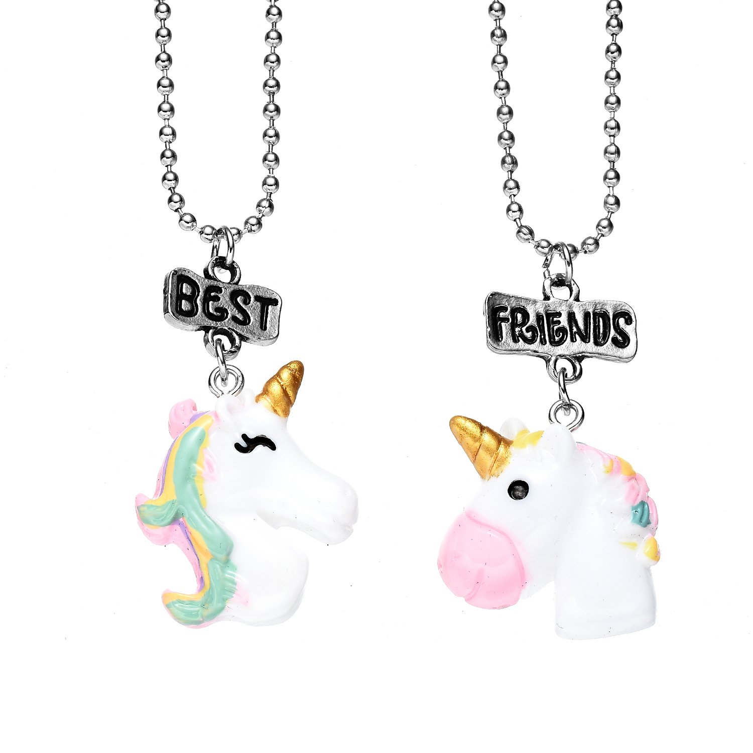 2 Pack Best Friends Pendant Friendship Necklaces Set for Childrens Girls Bensoco NL-0387