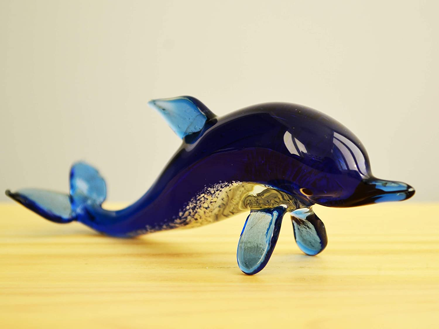 Vintage Murano Clear Light Sky Blue Glass Dolphin Figurine Ornament Glass Ocean Animal Fish Collector Gift Home Shelve Decor