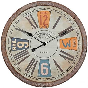 FineBuy Deko Vintage Wanduhr XXL Ø 60 Cm London | Materialmix Holz Metall |  Römische Und