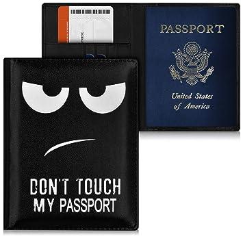 kwmobile Reisepass Hülle mit Kartenfächern Kunstleder Ausweishülle Passhülle Kartenetui Tasche Reisepasshülle in Weiß Schwarz