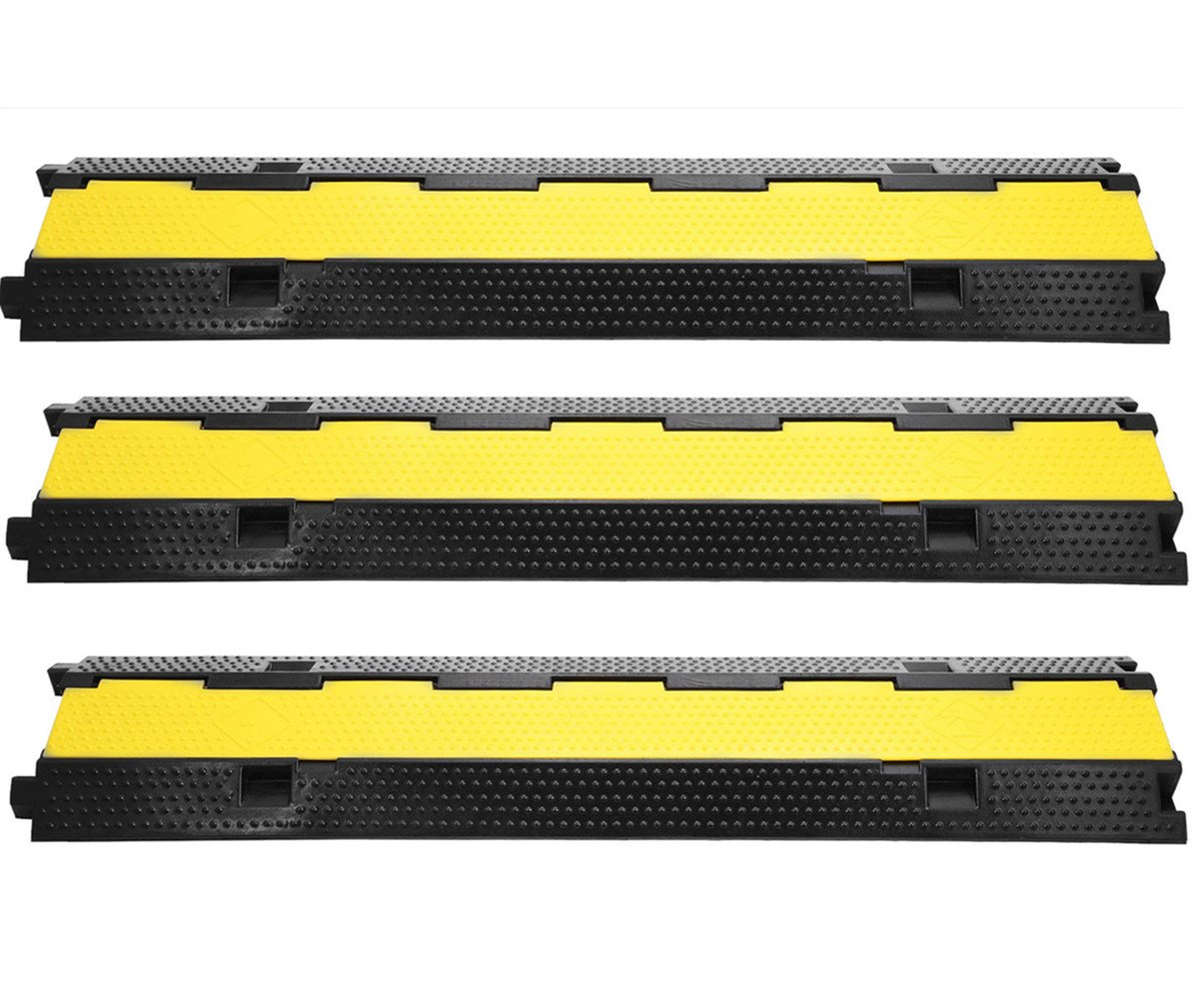 SmarketBuy 3 Pack Dual Channel Rubber Cable Protector 11000 LBS Capacity Cable Ramps Black Ramp and Yellow lid Connector Speed Bump