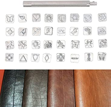 32PCS Stamp Punch Set Animal Leather Stamp Punch Cartoon Animal Plant Leather Working Saddle Making Tools Leathercarft Stamping Tool Set for Metal Wood Plastic Imprinting Craft DIY