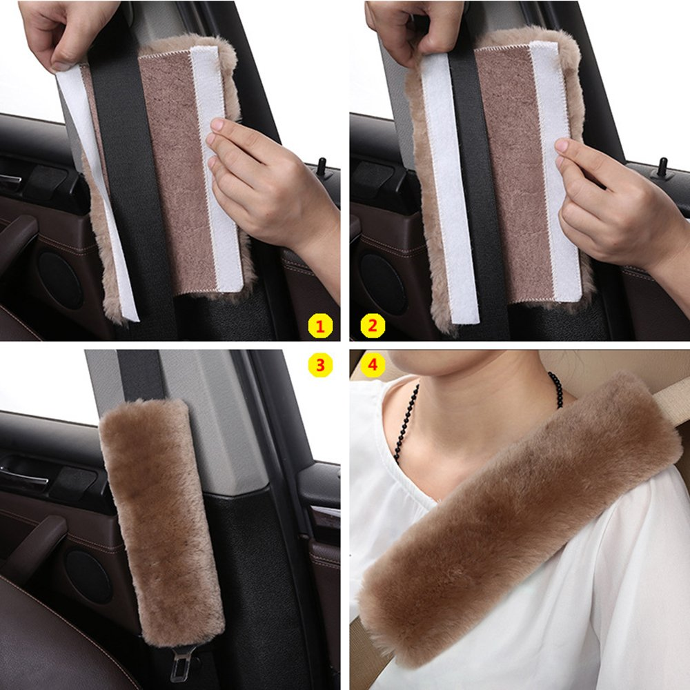 Leather Backing Sheepskin Shoulder Strap Belt Covers Harness For Cars//Bags//Cameras//,Perfect Stress Relax for Your Neck And Shoulder Pearl white Alusbell 2PCS Genuine Wool Soft Seatbelt Pads SZMLS MLS-CSSP-02