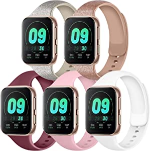 IEOVIEE [Pack 5] Compatible with Apple Watch Bands 38mm 42mm Series 6 5 4 3 2 1 & SE (Glitter Rose Gold/Glitter Silver/Wine Red/White/Pink, 38mm/40mm-M/L)