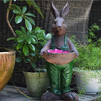 Jardín Al Aire Libre Continental Cartoon Rabbit Retro Flower Pot Garden Landscape Garden Animal Sculpture Decoration- (A B C D) Green-23 * 21 * 54cm: Amazon.es: Bricolaje y herramientas