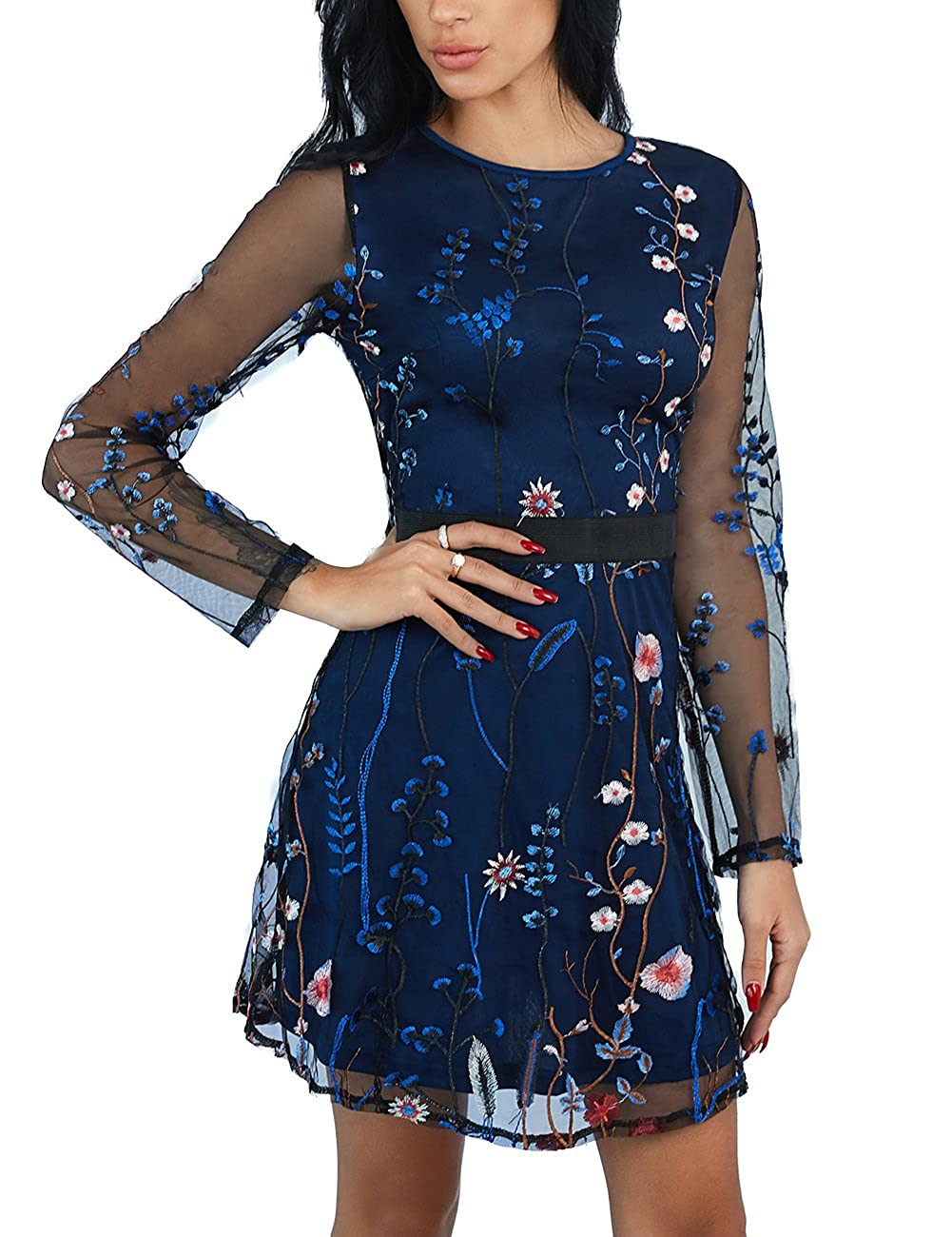 86c3c04bbd5 Ivrose Womens Floral Embroidery Casual Mesh Dress at Amazon Women s  Clothing store