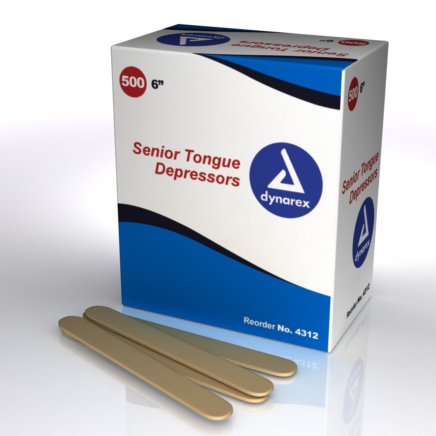 Senior Tongue Depressor Dynarex, 500 Count (Pack of 10)