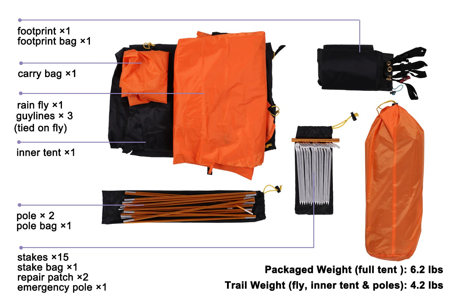Orange Waterproof and Easy Setup 3 Season MIER 1-2 Person Backpacking Tent Free-Standing Camping Tent with Footprint