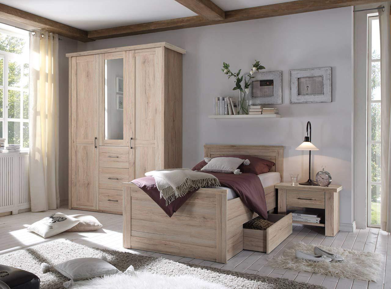 lifestyle4living Schlafzimmer Komplett Set in Eiche-Dekor, 3-teilig | Modernes Komplettset mit Drehtürenschrank, Bett und Nachtschrank