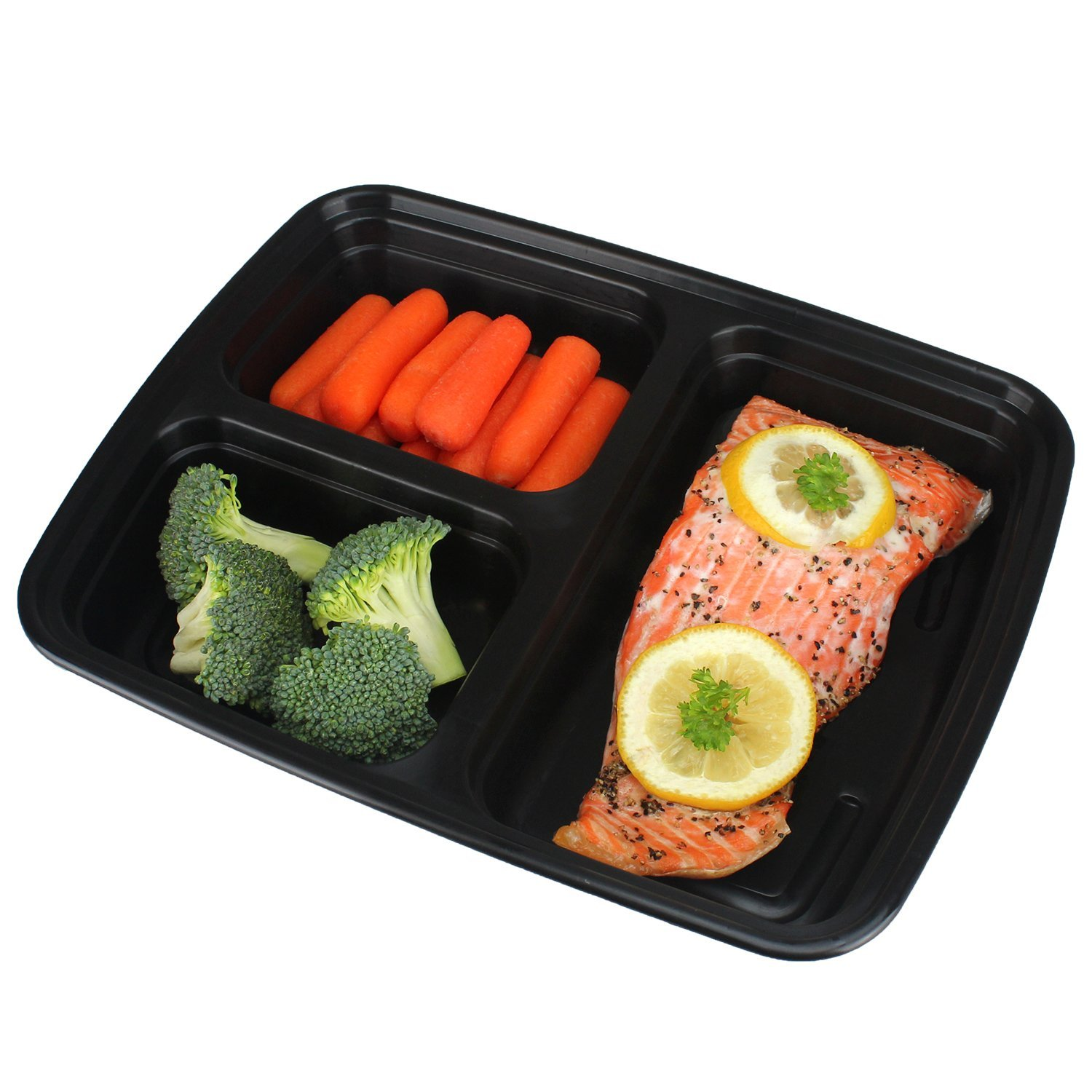 Freshware Meal Prep Containers [15 Pack] 3 Compartment with Lids, Food Containers, Lunch Box | BPA Free | Stackable | Bento Box, Microwave/Dishwasher/Freezer Safe, Portion Control, 21 day fix (32 oz) by Freshware (Image #3)