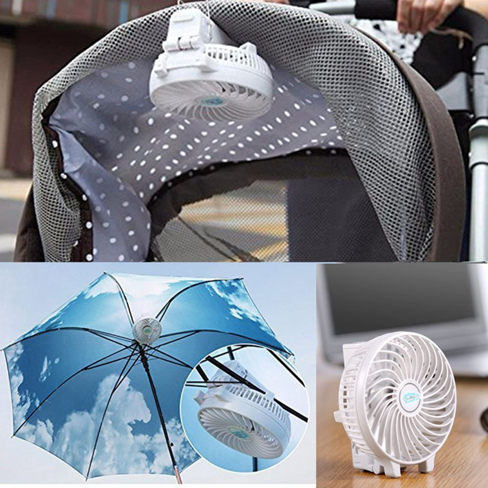 Mini Fan Battery Operated, Kingcenton Handheld Portable Foldable 4 Inch Fan with Clip for Stroller - 2000mAh Rechargeable Battery, 3 Speeds Adjustable for Home, Office and Travel (White) by Kingcenton (Image #8)