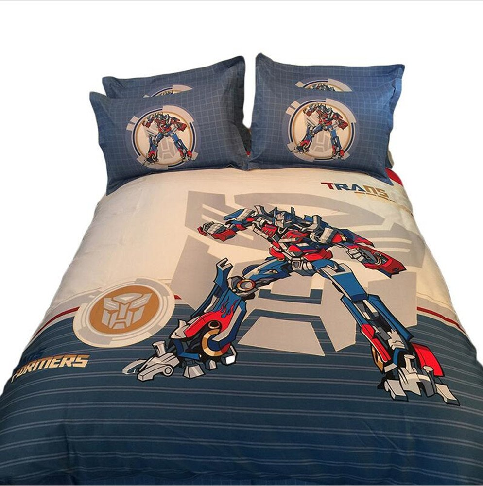 Judy Dre am Home Textile Cartoon Transformers Optimus Primal Children Bedding Set Cartoon Cotton Duvet Cover Sets for Boy Bed Sheets Qulit Cover Set 4-piece (1 Duvet Cover, 1 Flat Sheet, 2 Pillow Cases)