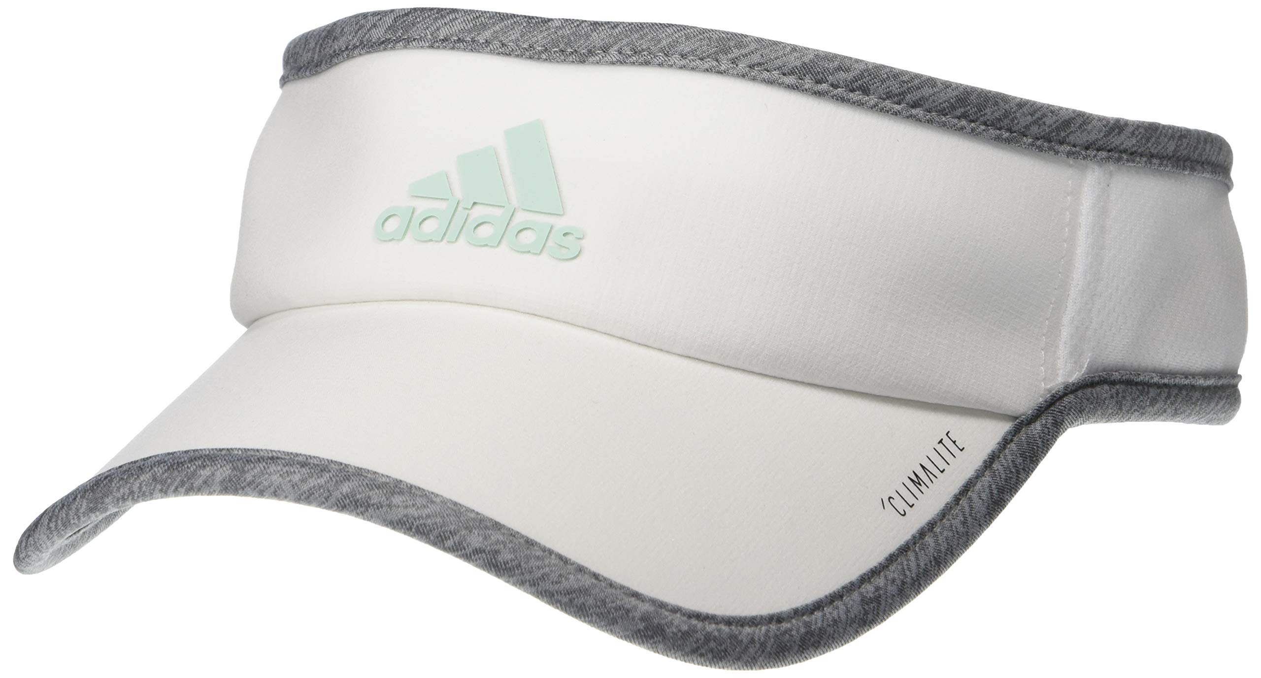 adidas Women's SuperLite Visor, White/Light Heather Grey/Clear Mint, One Size