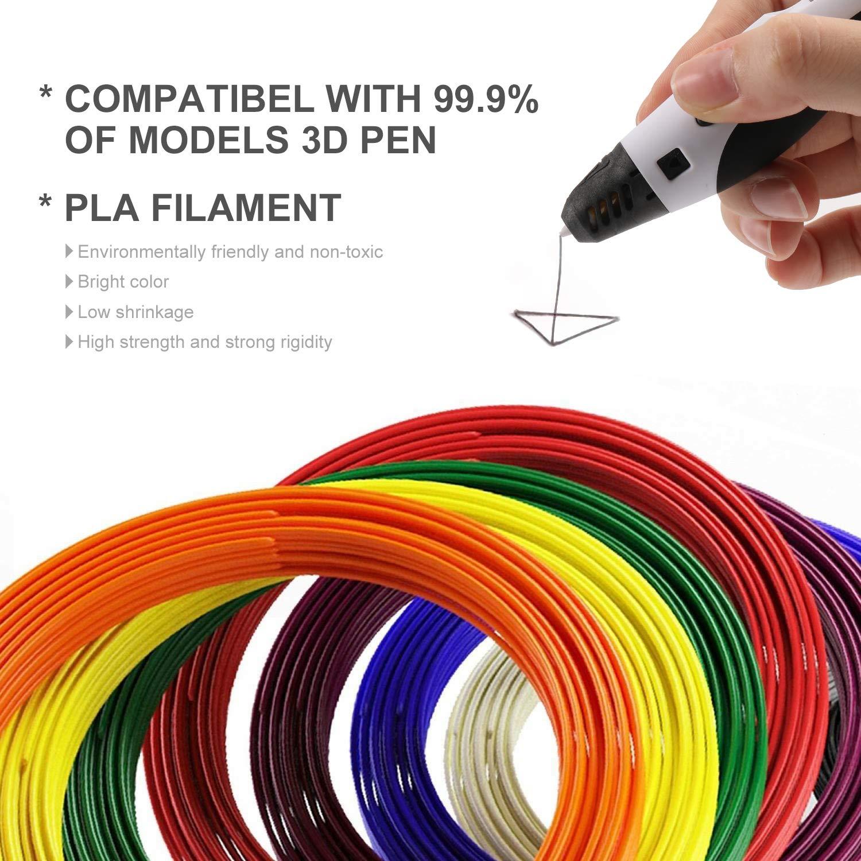 1,75 mm PLA 3D-Druckstiftfilament SUNLU PLA 3D-Stiftfilamentminen kostenlose Schablonen Ebook // 5Meters pro Farbe insgesamt 50 Meter 10 Farben, jeweils 16,5 Fu/ß