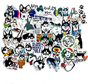 Cute Husky Dog Stickers for Water Bottles, 49 Pack Stickers Trendy Laptop Stickers Guitar Computer Water Bottle Stickers for Teen Children (Husky)