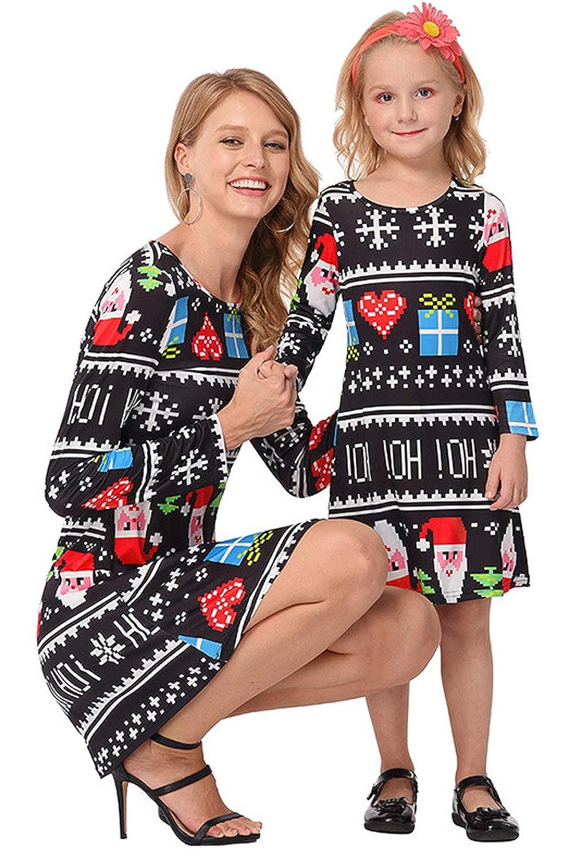 Vestito Uguale Mamma Figlia Inverno Retro Vintage Mini Swing Abito Natale Bambina Donna Moda Simpatici Vestiti Autunnali Manica Lunga Abiti Corti Eleganti Cerimonia Tunica Taglie Forti Caftano Kaftano