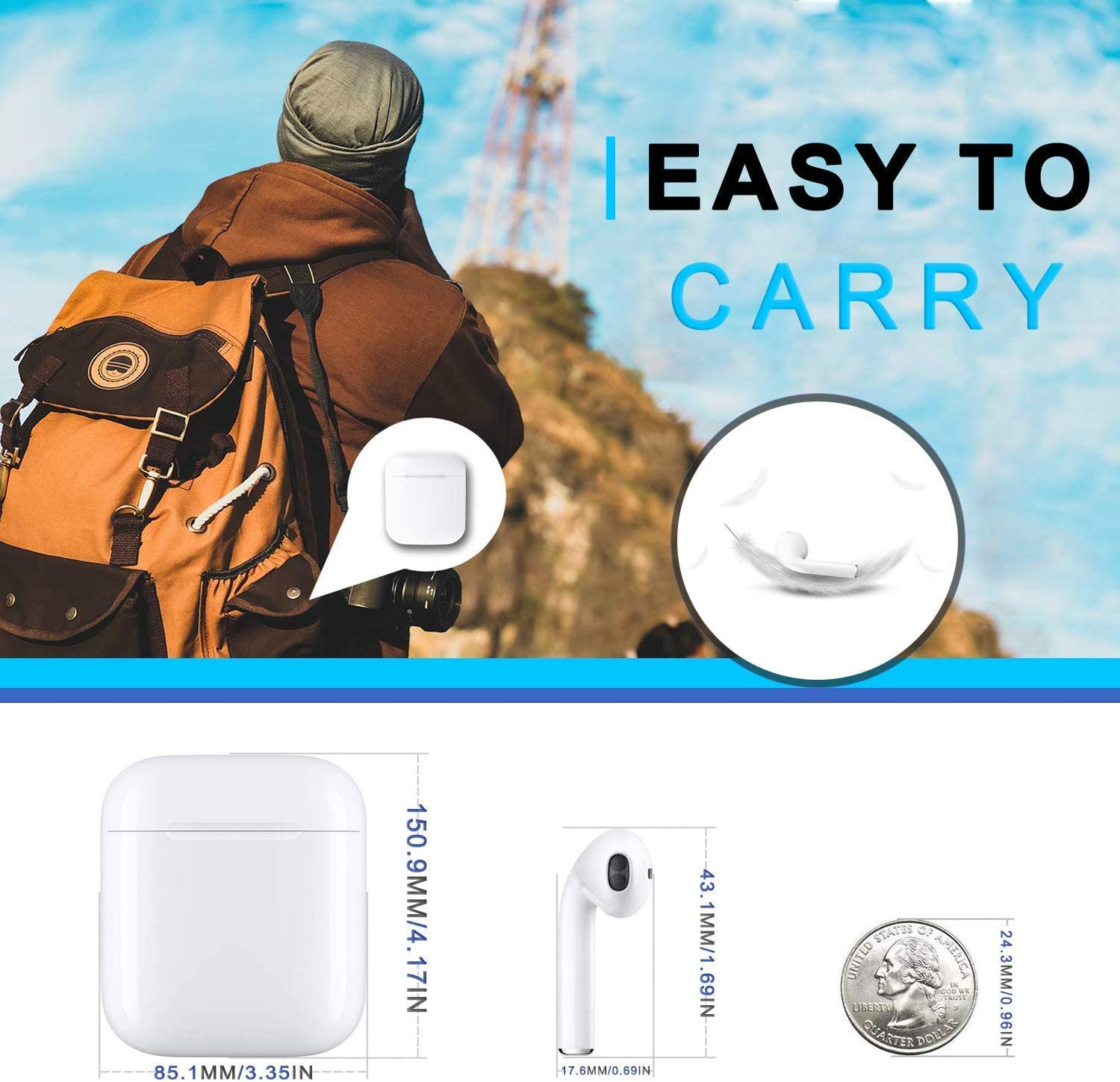 Bluetooth 5.0 Wireless Earbuds with【24Hrs Charging Case】 Waterproof TWS Stereo Headphones in-Ear Built-in Mic Headset Premium Sound with Deep Bass for Sport Earphones Apple Airpods Bluetooth Headsets