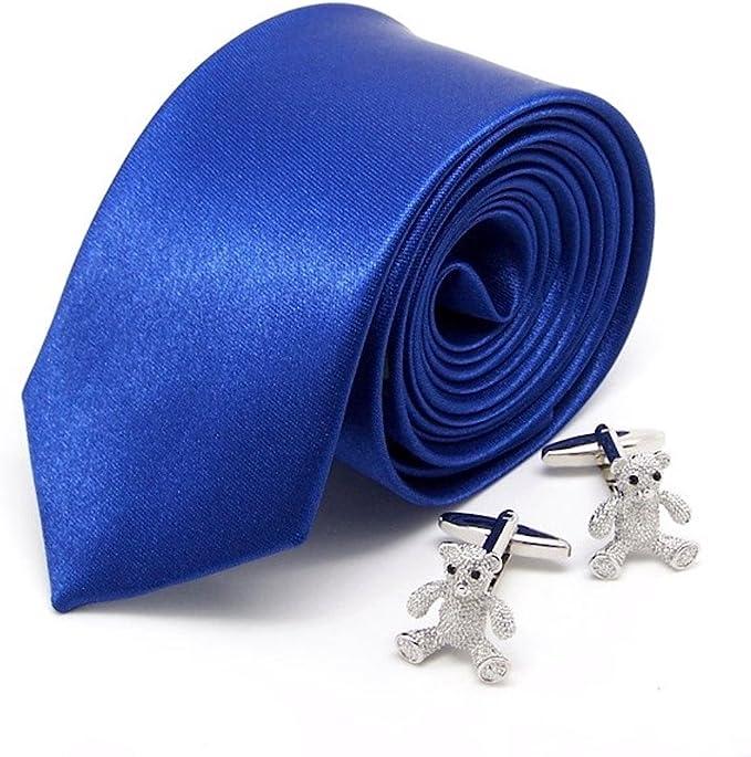 Cravate fine slim bleu roi & manchettes fantaisie