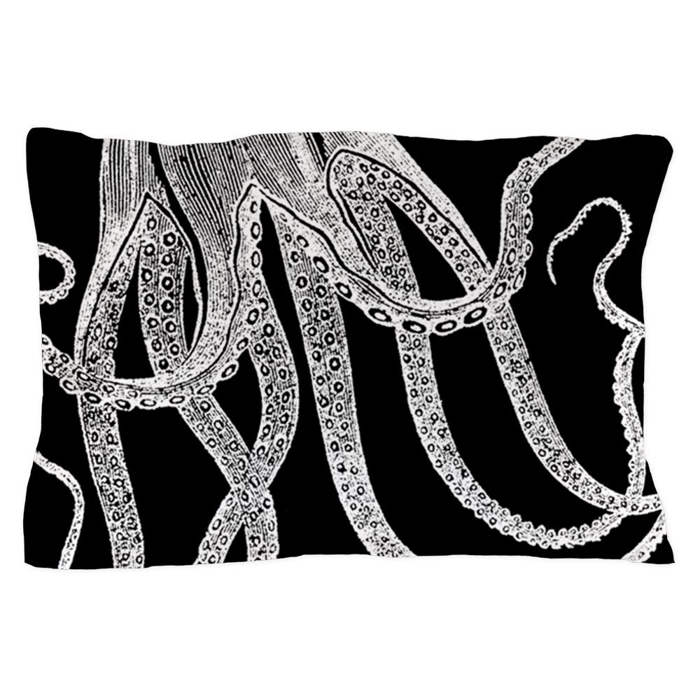 CafePress - Vintage Octopus In Black And White Wood Block Prin - Standard Size Pillow Case, 20''x30'' Pillow Cover, Unique Pillow Slip