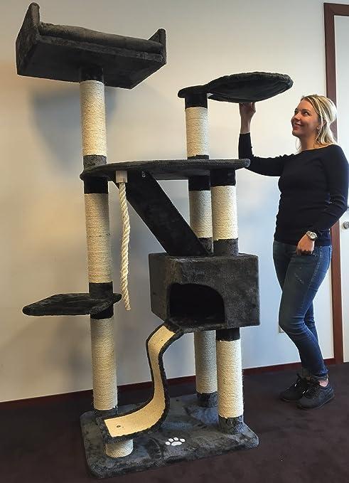 Rascador para gatos grandes para gatos grandes Kilimandjaro Plus antracita postes de sisal Color 12 cm