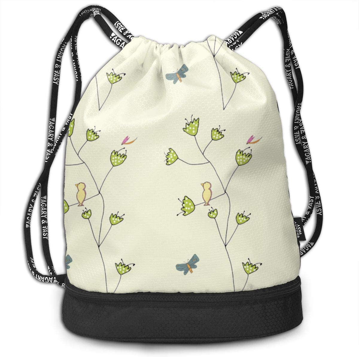 Tulip Birds New Drawstring Backpack Sports Athletic Gym Cinch Sack String Storage Bags for Hiking Travel Beach