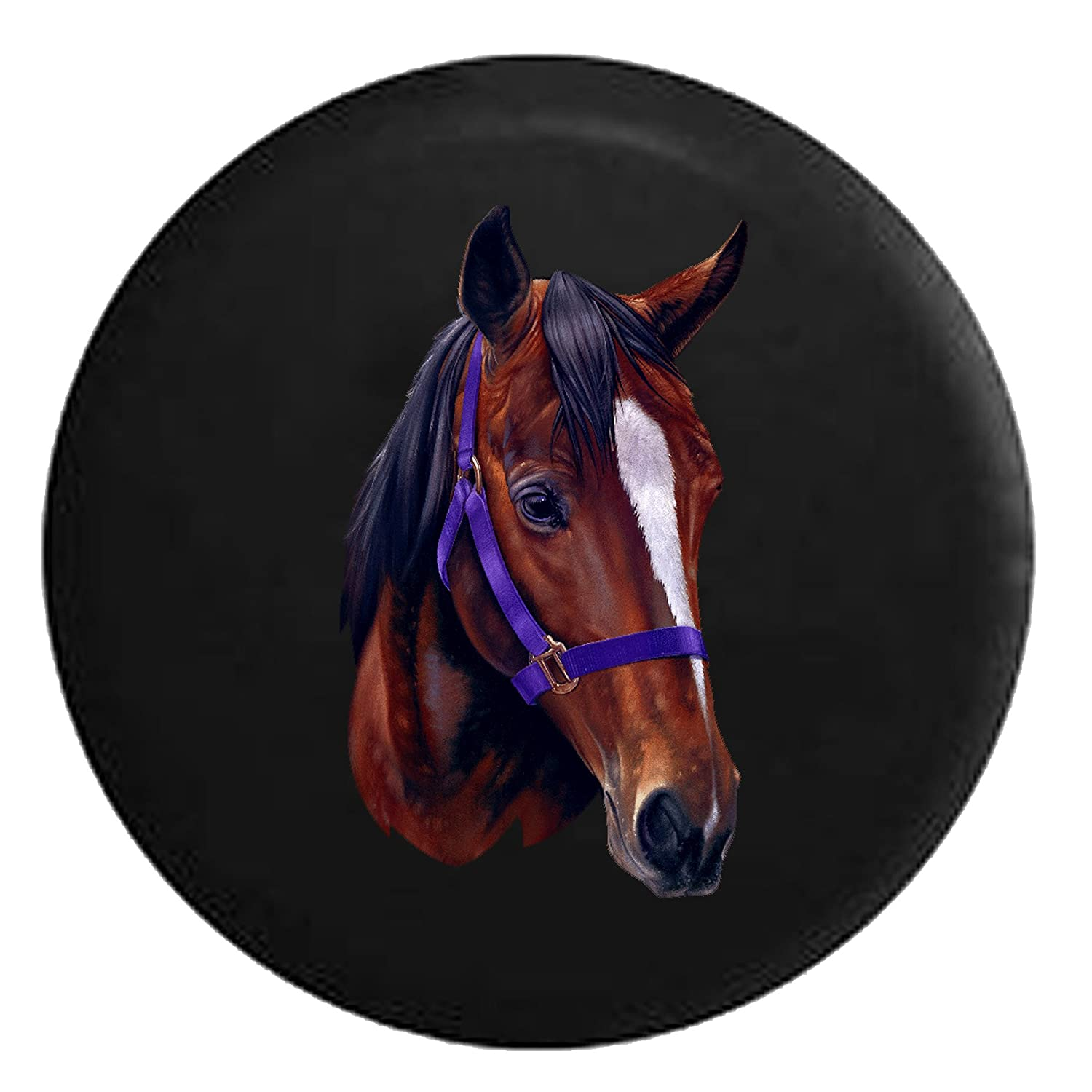 Horse Head Brown /& White Spare Tire Cover Black 32 in Pike Outdoors