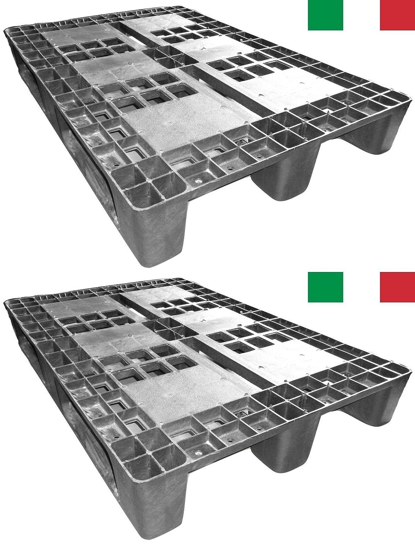 Made in Italy Cenni 12002 Set 2 Kunststoff Paletten 1200 x 800 mit 3 Kufen Europaletten