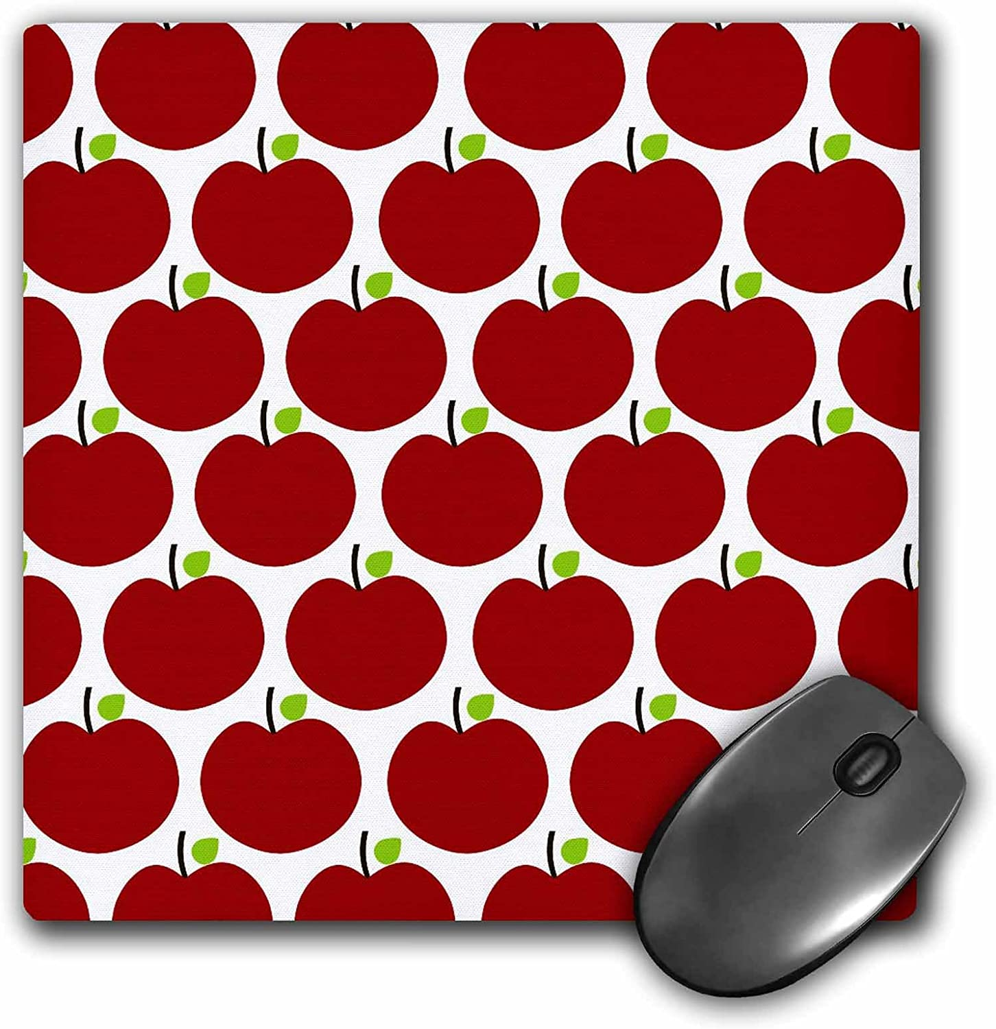 3dRose LLC 8 x 8 x 0.25 Inches Mouse Pad, Red Apples Fruit Kitchen Theme Art (mp_164468_1)