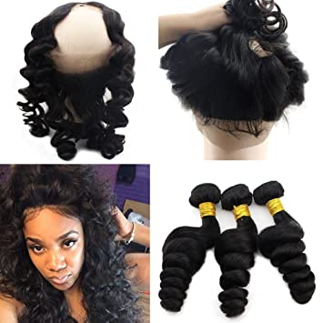 Amazon atina hair 360 frontal with 3 bundles loose wave atina hair 360 frontal with 3 bundles loose wave weave full lace around with baby hair pmusecretfo Image collections