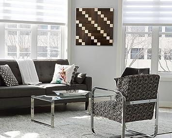 Wodewa Wandbild Aus Holz Wanddeko 3D Holzbild Mosaik Holzdeko Braun Grau  55x55cm Holzbilder I Moderne Bilder