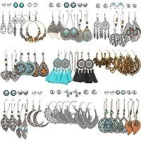 45 Pairs Fashion Hollow Drop Dangle Earrings Set for Women Girls Bohemian National Style Eardrop with Bronze Waterdrop…