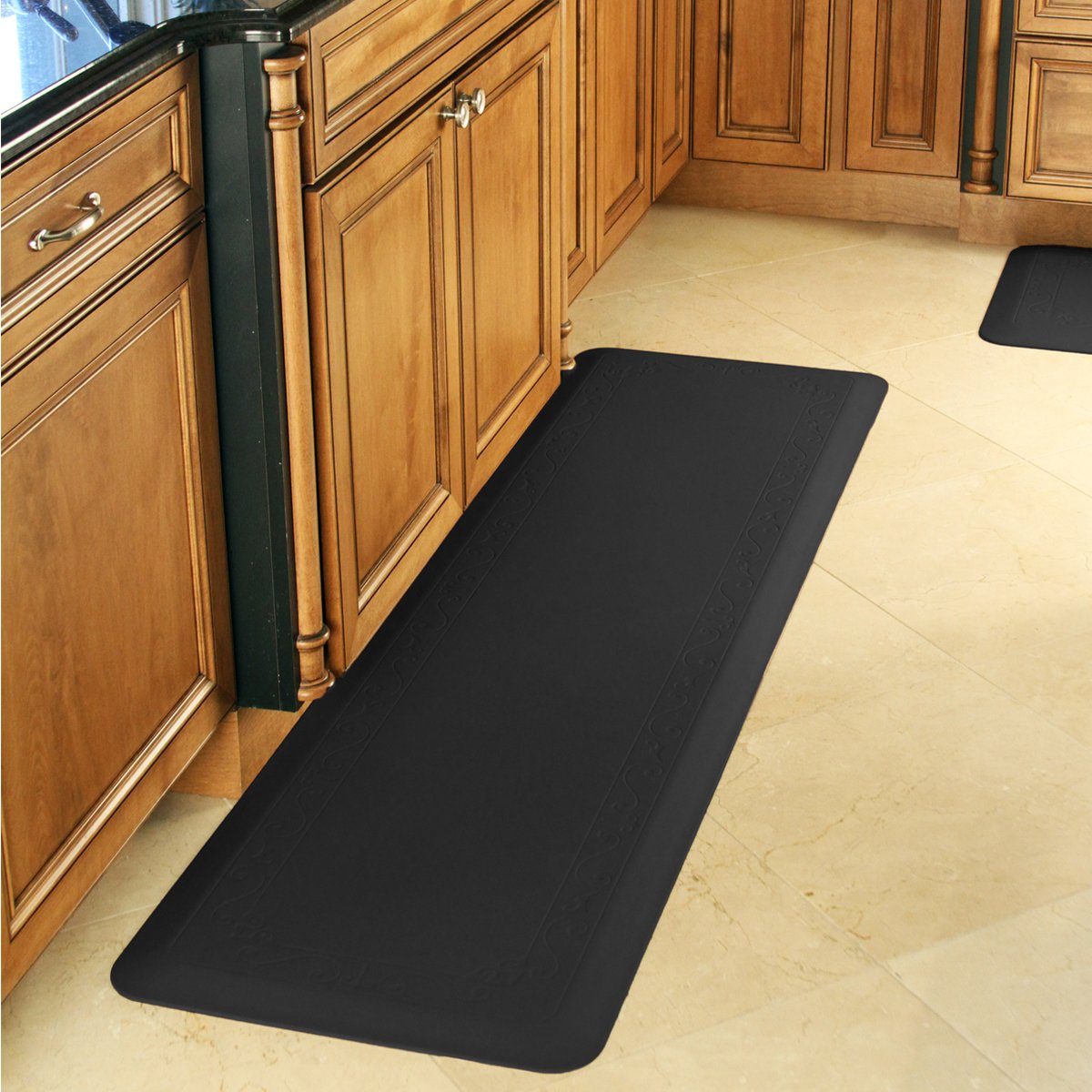 Smart Step Home Collection Fleur-de-Lys Design Mat, 72-Inch by 20-Inch, Black by Smart Step Therapeutic Flooring (Image #2)