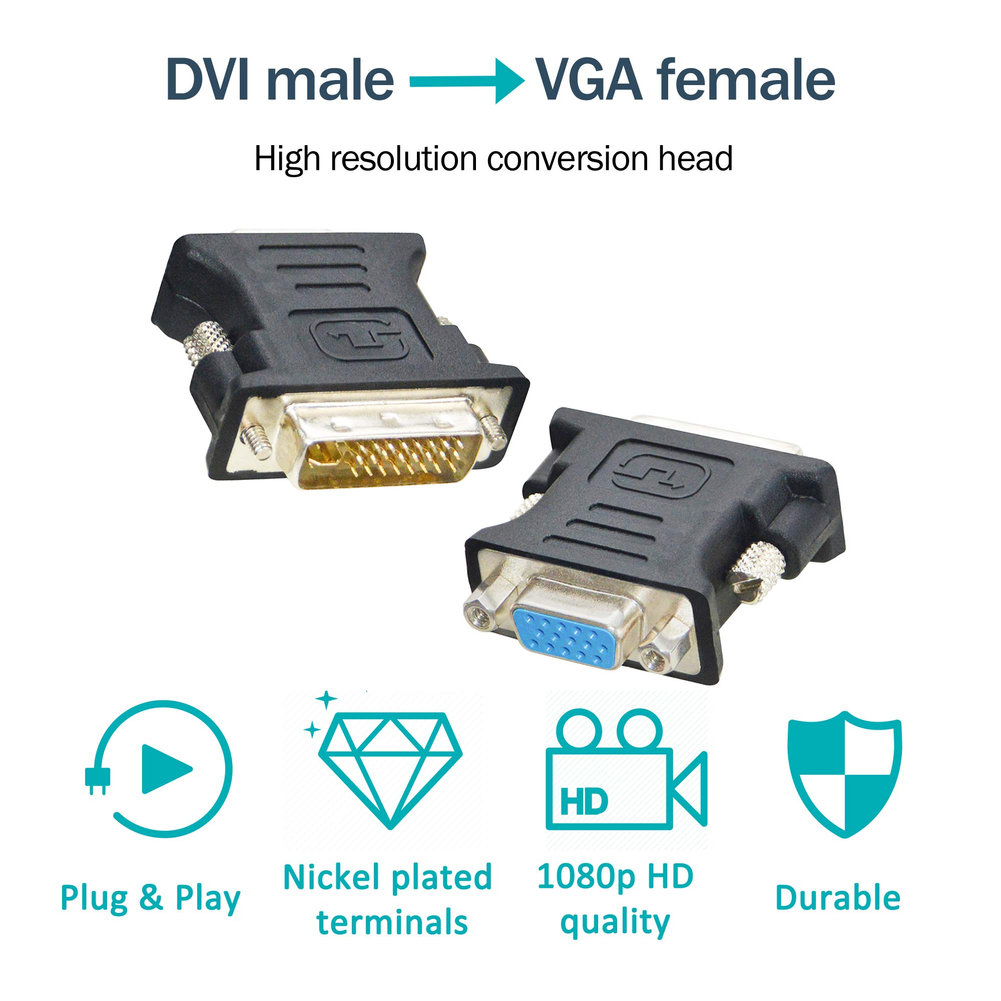 0.25M 0.82FT VGA Male to 2-Port VGA Female Cable Adapter and cables