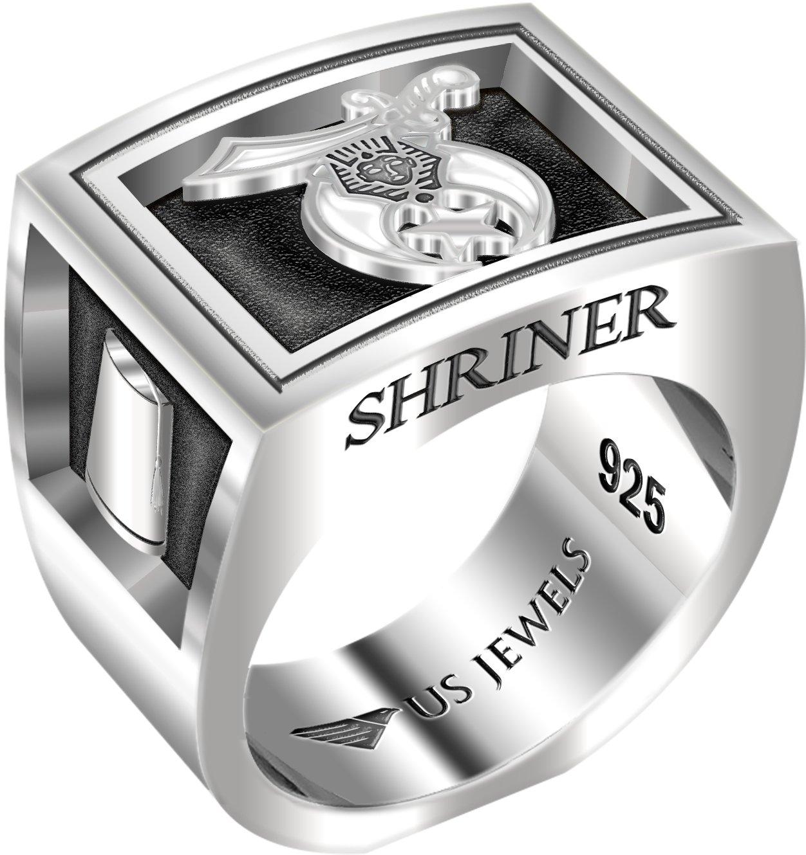 Men's Heavy 0.925 Sterling Silver Freemason Shriner Ring Band, Size 11