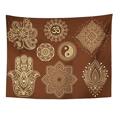 Emvency tapiz de pared grande de Mehndi Flor Mandala Mantra Om Yin ...