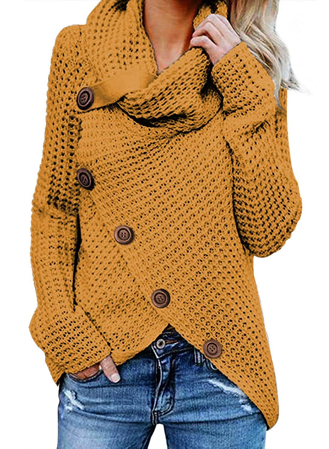da38c6ae28ad1 BLENCOT Womens Lightweight Turtle Cowl Neck Button Asymmetric Hem Wrap Pullover  Sweater Outwear at Amazon Women s Clothing store