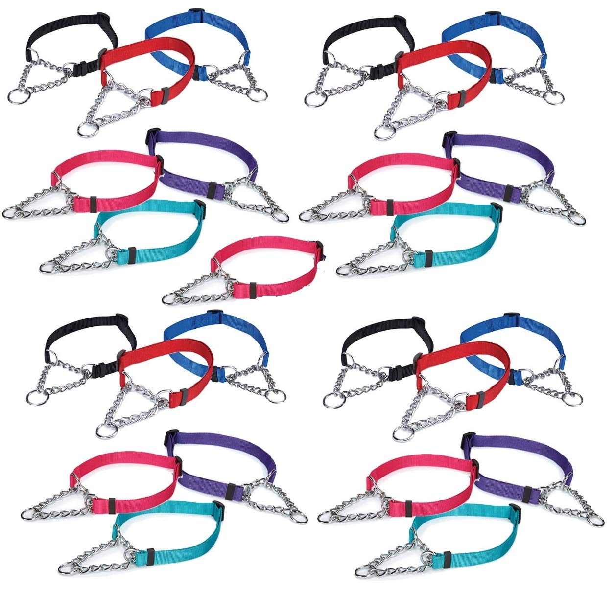 25 Chain Martingale Dog Collar Bulk Shelter Rescue Vet Assorted Color Pick Size (Medium - 14 to 20 inch)