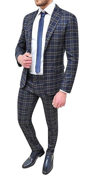 Abiti Giovanili Eleganti.Abito Completo Uomo Sartoriale Blu Grigio Quadri Slim Fit Vestito