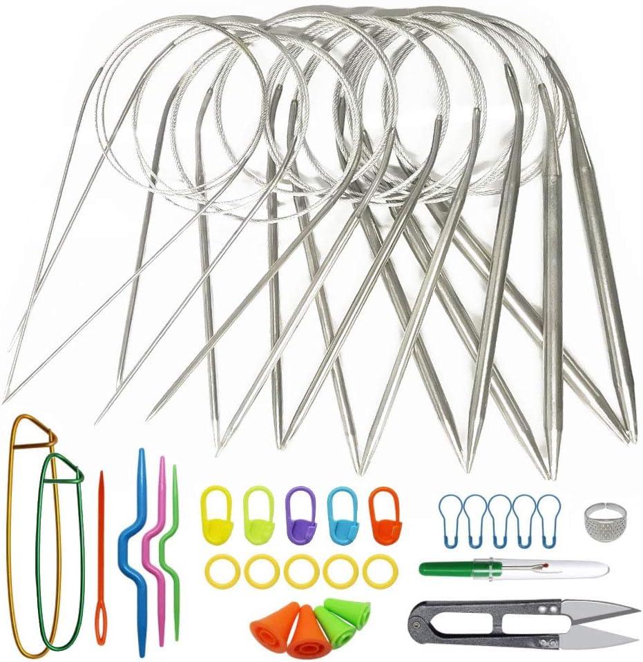 Nsiwem Rundstricknadeln aus Edelstahl 9 St/ück Stricknadeln 80cm H/äkelnadeln Set Edelstahl Runden H/äkeln Stricknadeln Stahl Gr/ö/ßen 1,5 mm bis 8,0 mm mit Strickwerkzeuge