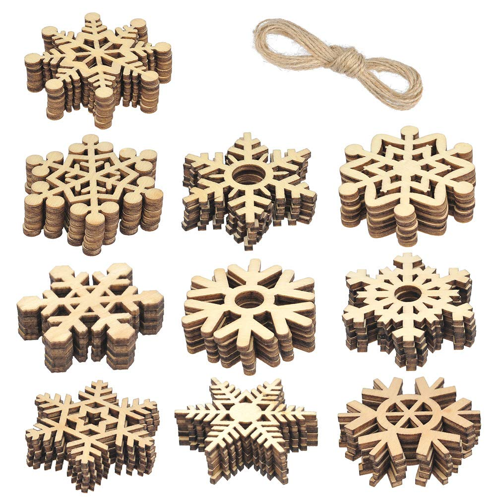 WOWOSS 50 Pieces Christmas Wooden Snowflake Cutouts Embellishments Hanging Ornaments for Christmas Tree Decoration Kids Crafts with Twines