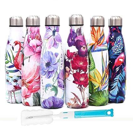 HZYRL Botellas Agua Acero Inoxidable,Doble Pared de Aislamiento al vacío Botella termica a Prueba de Fugas 500 ml sin BPA + Cepillo de Limpieza Gratis
