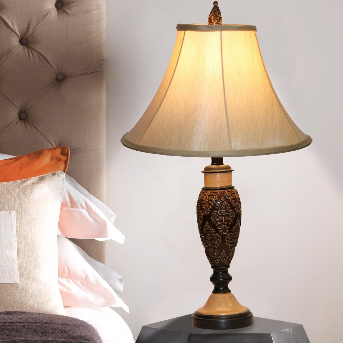 Home Source Industries LMP105 Traditional Espresso Table Lamp with Fabric Shade, 25-Inch Tall