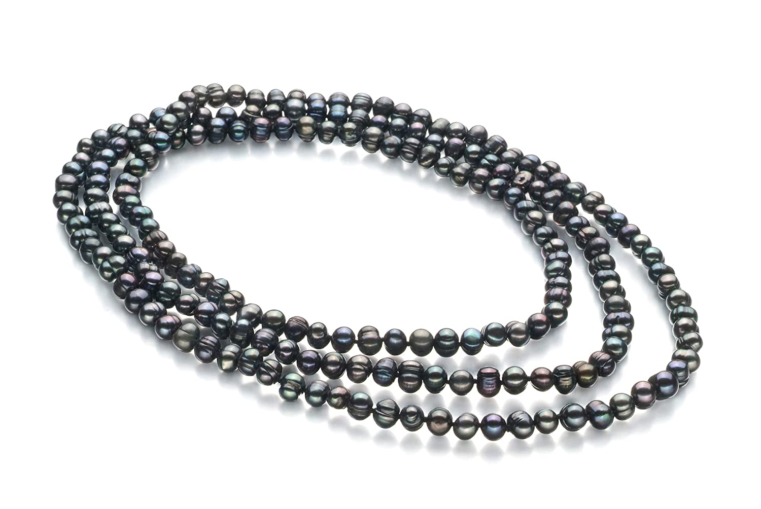 Betty Black 6-7mm A Quality Freshwater Cultured Pearl Necklace for Women-51 in Rope Length