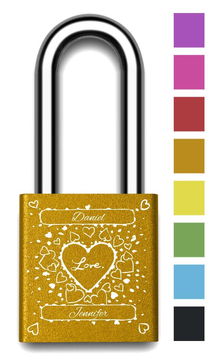 Customizable MakeLoveLocks - I Love You Random Hearts Love Lock 2'' Orange