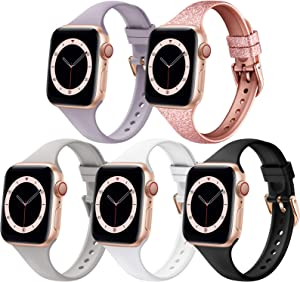Compatible with Apple Watch Bands 38mm 40mm 42mm 44mm, Thin Narrow Soft Silicone Replacement Straps Wristbands Slim Bands for iWatch Series 6 5 4 3 2 1 SE Women Men, 5 Packs