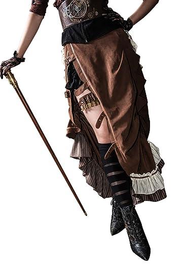 496de562536 HaoLin Steampunk Victorian Lolita Skirt Gothic Punk Clothing Pirate  Renaissance Costume (L)