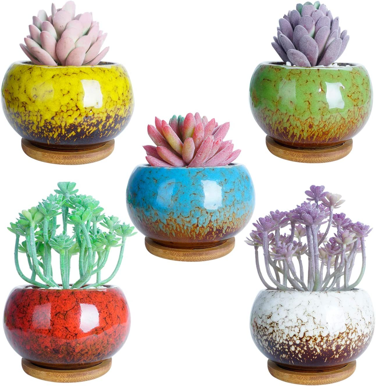 ARTKETTY 4.4 inch Succulent Plant Pots, Small Ceramic Cactus Planter Pots with Bamboo Tray Modern Round Glazed Flower Pot Tiny Plants Container Perfect for Decorating Home and Office Pack of 5