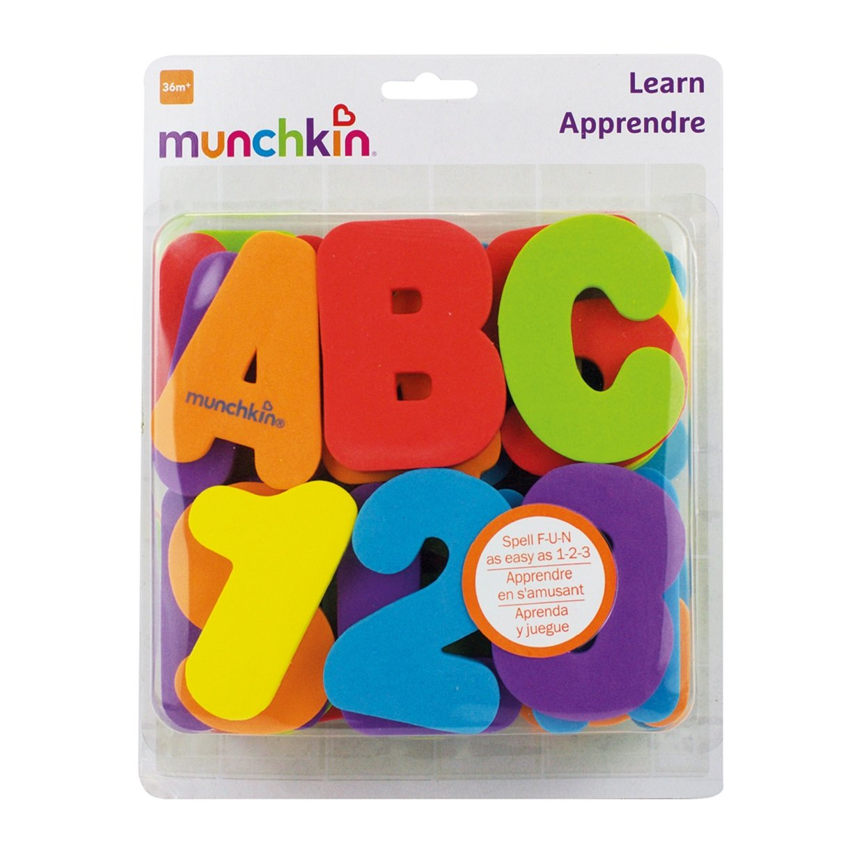 Munchkin Learn Bath Toy Letters A-Z; Numbers 0-9 36 Bath Foam Letters and Numbers